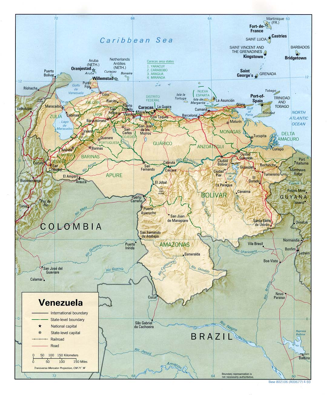 Arval relief map of venezuela this venezuela shaded relief 1993 publicscrutiny Choice Image